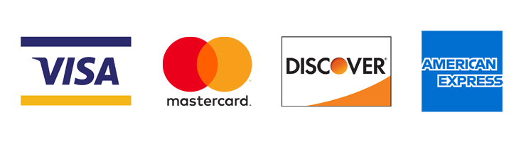 credit-card logos for Visa, Mastercard, Discover and American Express